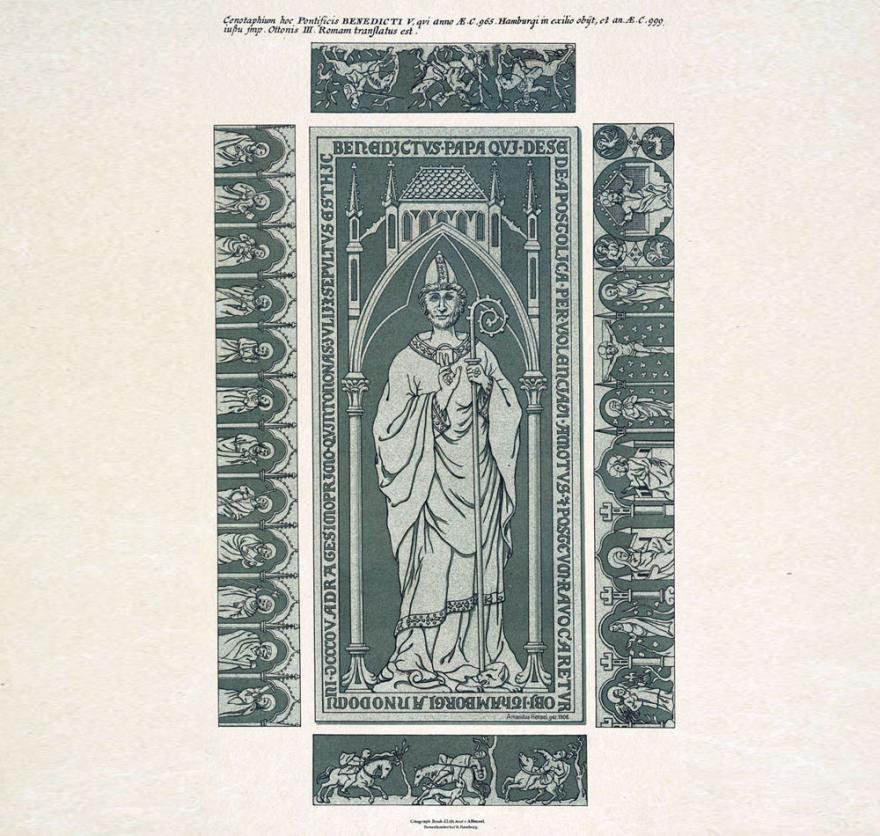 Der Kenotaph wurde im 18. Jahrhundert entfernt. Benedikt selbst beziehungsweise sein Leichnam  wurde wenige Jahre nach seinem Tod (in Hamburg) nach Rom überführt. (Quelle: Staatsarchiv Hamburg, Inv.-Nr. 131-5=3/188)