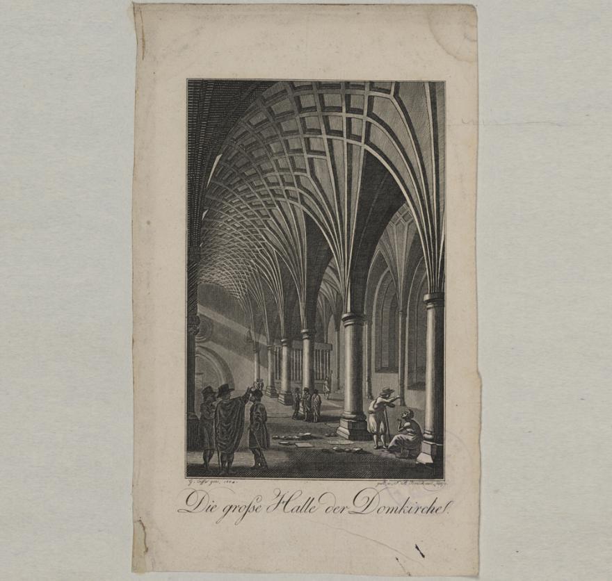 Die große Halle des Doms, Kupferstich von F. A. Brückner nach einer Zeichnung von G. Eifre, 1804. (Quelle: Staatsarchiv Hamburg, Inv.-Nr. 131-5=3/131)