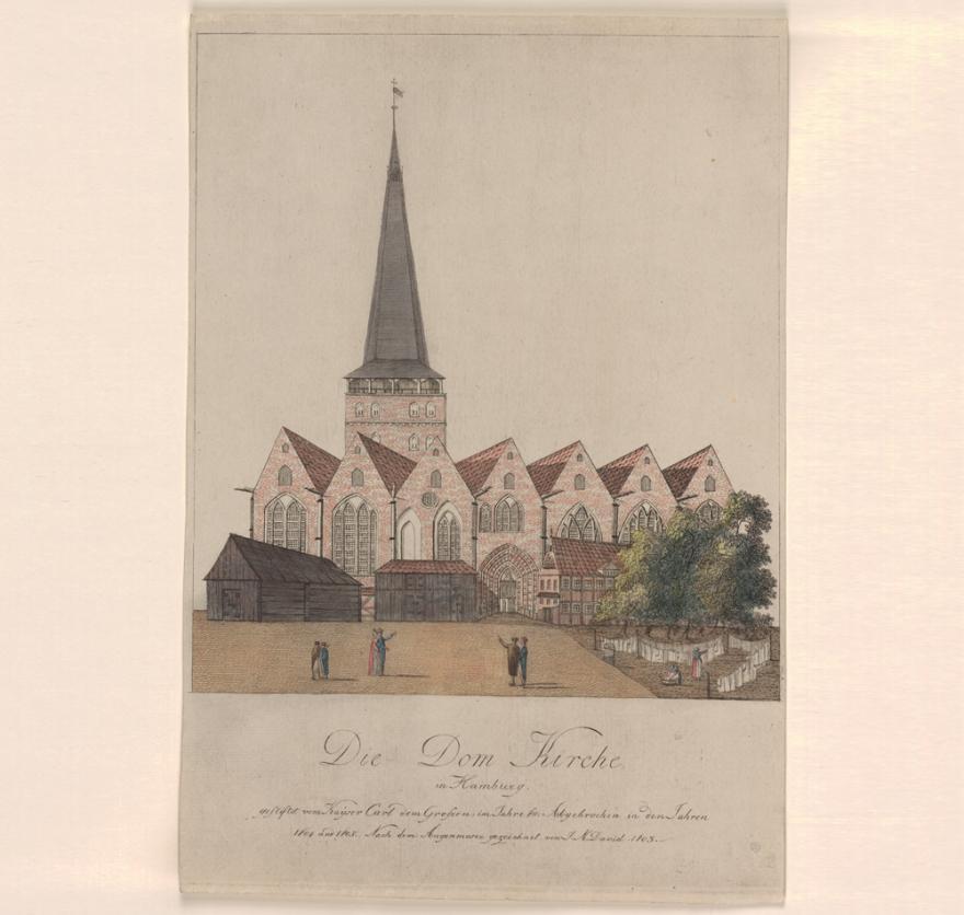 Ansicht des Doms, kolorierte Radierung von Johann Marcus David, 1803. (Quelle: Staatsarchiv Hamburg, Inv.-Nr. 131-05=03/91)