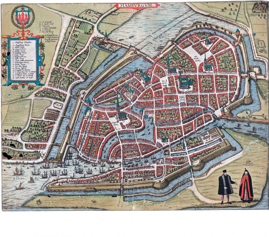 Plan von Hamburg, kolorierter Kupferstich aus dem Städteatlas von Braun und Hogenberg, 1589. (Quelle: Staatsarchiv Hamburg, 720-1/131-01 158_91_1)