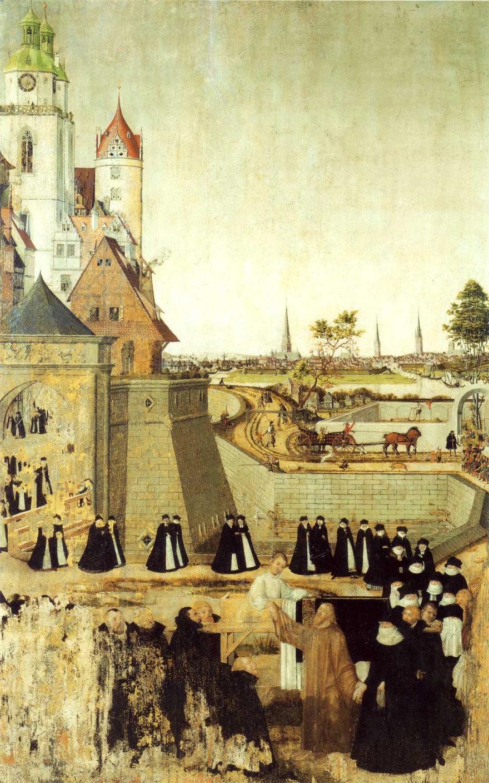 """Auf dem Epitaph sind im Hintergrund Hamburgs Kirchtürme zu sehen, """"Auferweckung des Jünglings zu Nain"""", Peter Spitzer und Lucas Cranach d.J. –Werkstatt, 1565. (Quelle: Wikipedia)"""