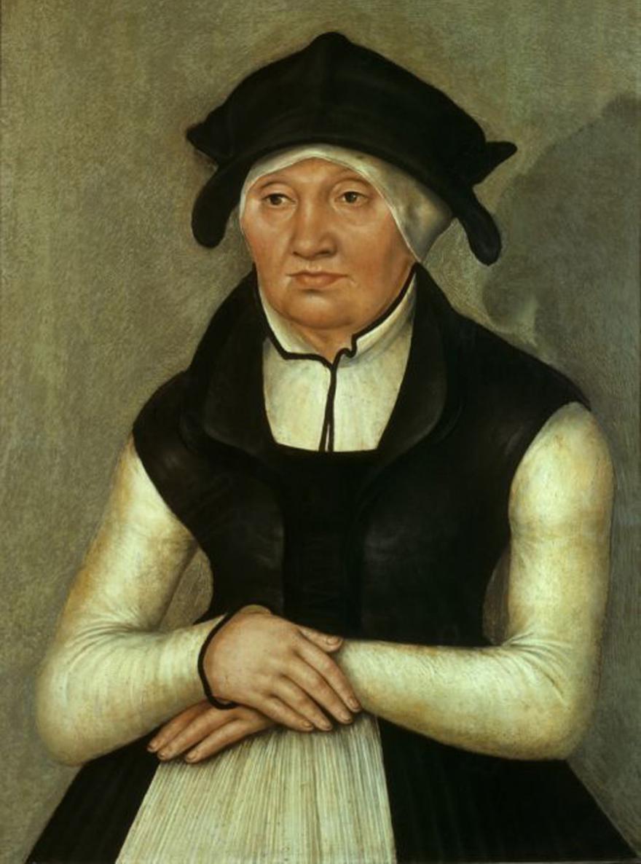 Walpurga Bugenhagen, Ehefrau des Johannes Bugenhagen, Gemälde von Lucas Cranach d. J., 1555. (Quelle: Leipziger Museum für Geschichte)